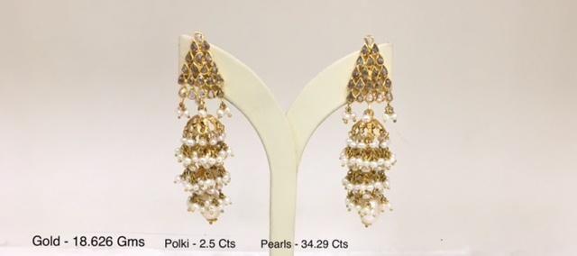 POLKI EARRINGS IN PEARLS